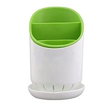 Kitchen Home Cutlery Drainer Strainer Organizer Dryer Plastic Cutlery Holder Green