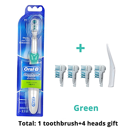 Oral B Electric Toothbrush Dual Clean Deep Clean Teeth Brush AA Battery  Non-Rechargeable Power Toothbrush Heads Gift(green)