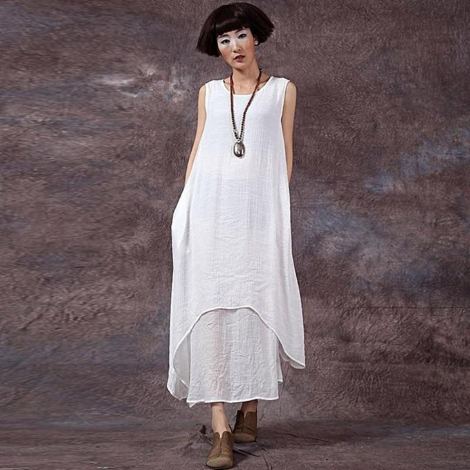 fb4f7a0ebb ZANZEA Chinese Style Fashion New Womens Casual Loose Dress Cotton Linen  Dresses Long Maxi Vestidos Plus