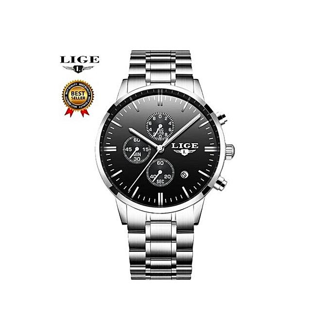 Lige Fashion Male Wrist Watch Men Steel Band Quartz Hand Watch Casual Chronograph Gentalman Clock Relogio Masculino Hodinky 9845