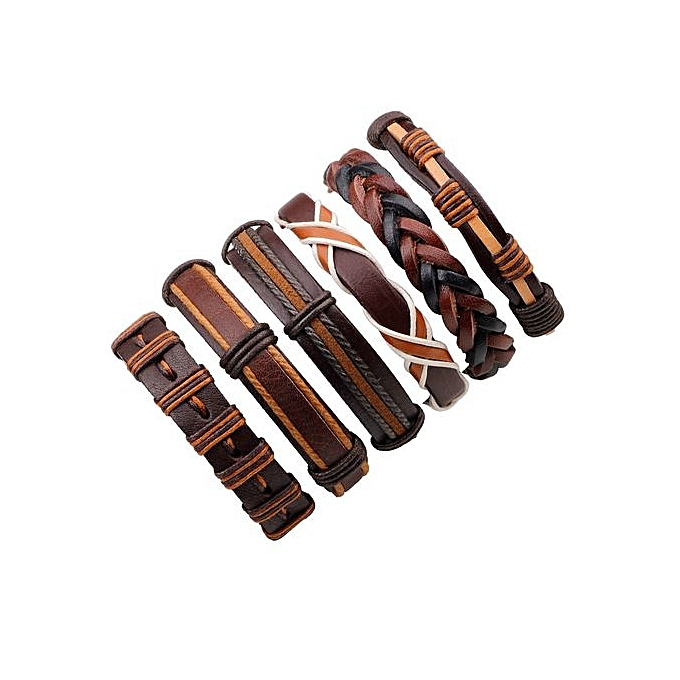 668fe6f5bdac7 New Stylish 6PCS/Set Simple Retro Bracelet Punk Leather Bracelet for Men