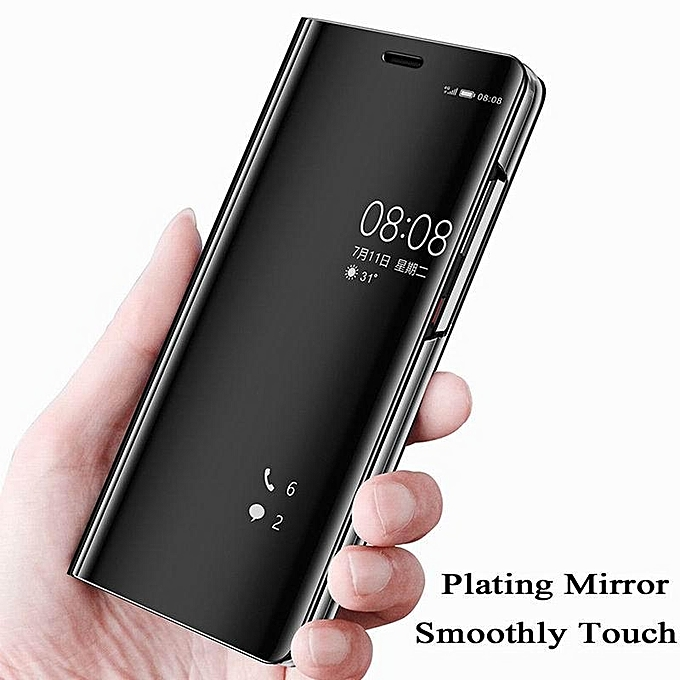 ... Luxury Mirror Clear View Smart Flip Case For OPPO F7 Leather Cover Case Housing