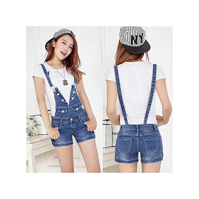 0e95ba0b6 Size 25-34 Denim Shorts Pants Suspenders Ladies Jeans Trousers Elastic  Braces Bib Overalls For