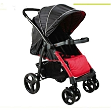 2 way Baby Stroller/Foldable Pram Portable Baby Stroller With Universal Casters - Black & Red