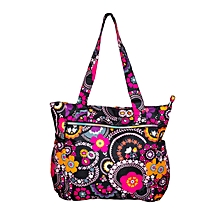 Black Multicolor Waterproof Orchid Print Diaper Bag With Pouch