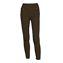 Women Brown Slim-Fit Stretch Twill Full Length Jeggings