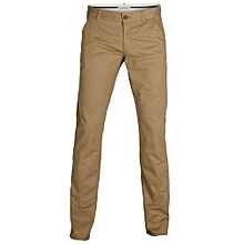 Khaki Trouser Pant - Beige - Straight Slim Fit
