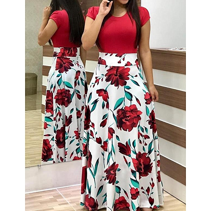 Explosive Version Of European And American Style Flower Print Long Women's  Dress -Red