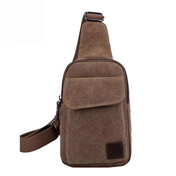 7b58e4812 Uni Canvas Chest Back Pack travel Crossbody Shoulder Bag Men Women Diagonal  Package Rucksacks(Coffee