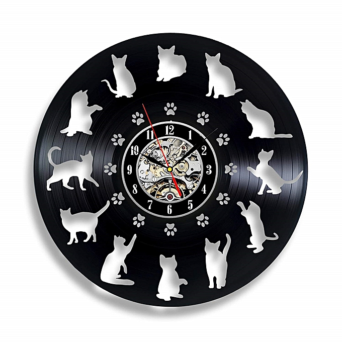 Funny Cat Lovers Vinyl Record Wall Clock Cute Ornaments Birthday Gifts For Her Animals Decor Kids