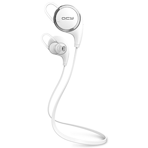 QCY QY8 V4.1 Wireless Bluetooth Headphones Best In-Ear Noise Cancelling Headphones with Microphone for Running, Sports (White)  XUNDYD