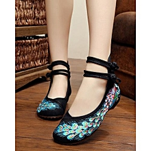 798567195494 Ethnic Sequin Peacock Embroidery Casual Flat Shoes -Black