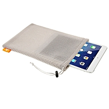 Nylon Mesh Pouch Bag with Stay Cord for iPad Air 2 & 1 / iPad 4 / 3 / 2 / 1, Size: 29cm x 19cm(Grey)