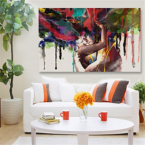 Buy UNIVERSAL 45x30cm Abstract Couple Canvas Painting Print Art ...