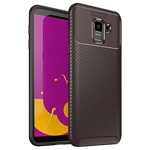 pretty nice 361f5 1c450 Samsung Galaxy J6 2018 Silicone Case TPU Carbon Fiber Pattern Phone Back  Cover - Brown