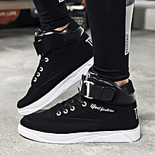 Men's Shoes Autumn Black And White Color Matching Velcro High-Top Sneakers-black