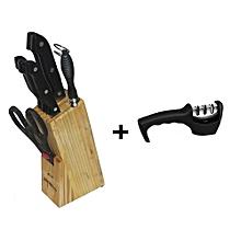7 Piece Kitchen Knife Set,Wooden Knife Storage Block Plus 3 Stage Knife Sharpener Set - Black & Silver