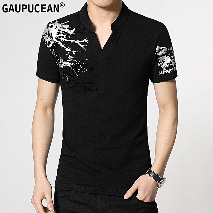 c5a320e0cfd Gaupucean Fashion Cotton Short Sleeve V-neck Print Summer Men T ...