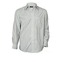 White With Grey & Green Striped Long Sleeved Shirt