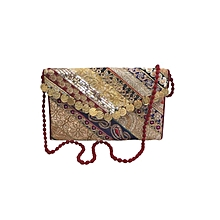 Multiple Zari Patch Clutch with Gold Coin Fitting - Multicolour