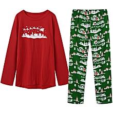 Christmas Snowman Printing Casual Home Pajamas Sleepwear Two-piece Suit for Men