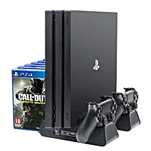 Cooling Stand for PS4/ PS4 Slim/ PS4 Pro, Multifunctional Vertical Station, Controller Charger, Charging Docking Station - Black
