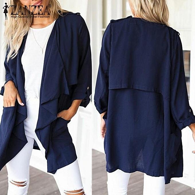 aa465f920cd ... Plus Size (Dark Blue) · ZANZEA Autumn Winter Coats Fashion Women Coat  Long Cardigan Casual Loose Long Sleeve Jacket Thin Solid