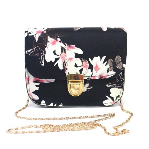 guoaivo Women Butterfly Flower Printing Handbag Shoulder Bag Tote Messenger Bag BK - Black