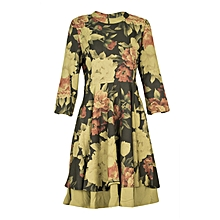 Green ¾ Sleeves Floral Classy Dress