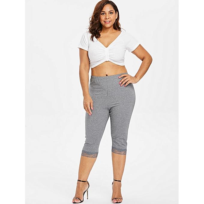 a4faff81c1c Generic Fashion Leadsmart Plus Size Lace Panel Elastic Waist Leggings