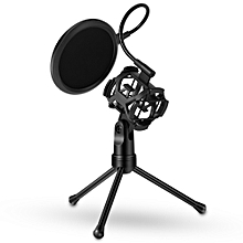 Detachable Desktop Microphone Tripod Stand Holder Bracket Supporter with Shock Mount Mic Holder & Dual Layered Wind Pop Screen Pop Filter Mask Shield for Podcast/Broadcast/Chatting/Meetings/Online Conference/Lectures and More
