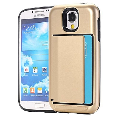 promo code 71efb 45129 RUILEAN Case For Samsung Galaxy S4 I9500 Dual Layer TPU +PCShock-absorbing  Card Slot Protective Cover Gold