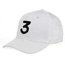 Chance 3 Embroidery Rapper Inspired Baseball Hat For Men/Women -White