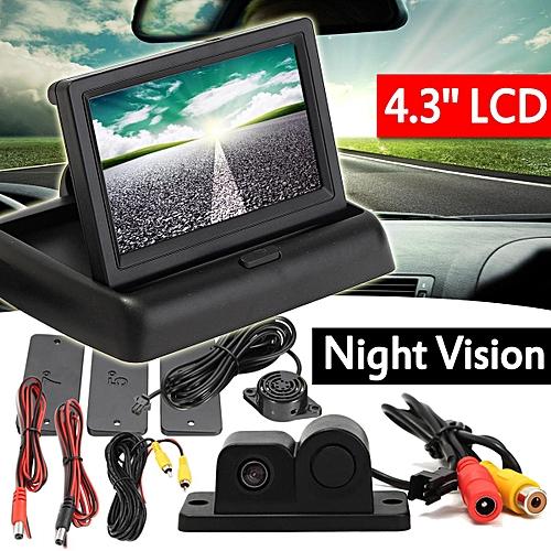 Car Rear View Radar Parking Kit Reversing Camera +4 3'' Foldable TFT LCD  Monitor