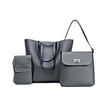 Ladies 3 in 1 Handbag Set - Grey