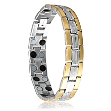 TB Stainless Steel Bracelet Men Wide Magnetic/Germanium Decorated Jewelry silver&gold