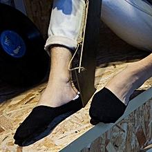 5Pairs Men Bamboo Fiber Loafer Boat Liner Low Cut No Show Nonslip Sports Socks Black
