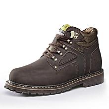 Spring Autumn Men Outdoor Hiking Mountain Climbing Shoes Leather Men Trekking Shoes Waterproof Wearable - Coffee