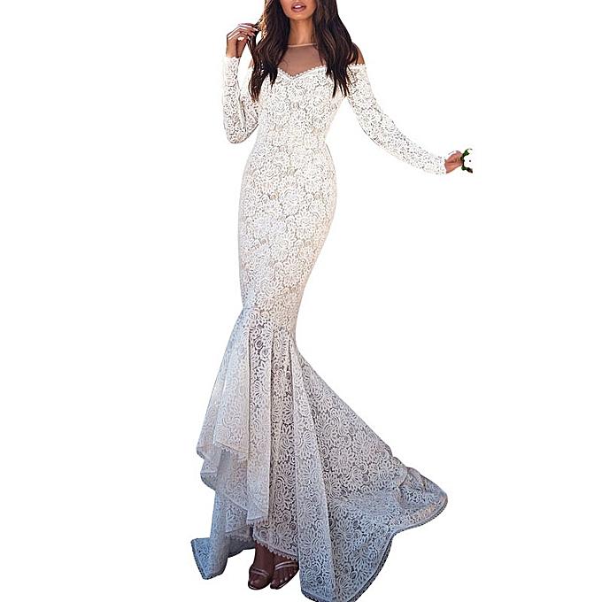 6878099229779 AFankara Ladies Dress Karen Dinner Gowns-White   Best Price