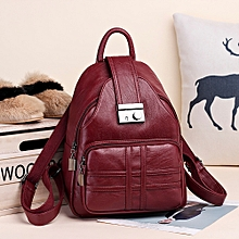 guoaivo Women Backpack Simple Casual Soft Leather Anti-theft Travel Small Backpack