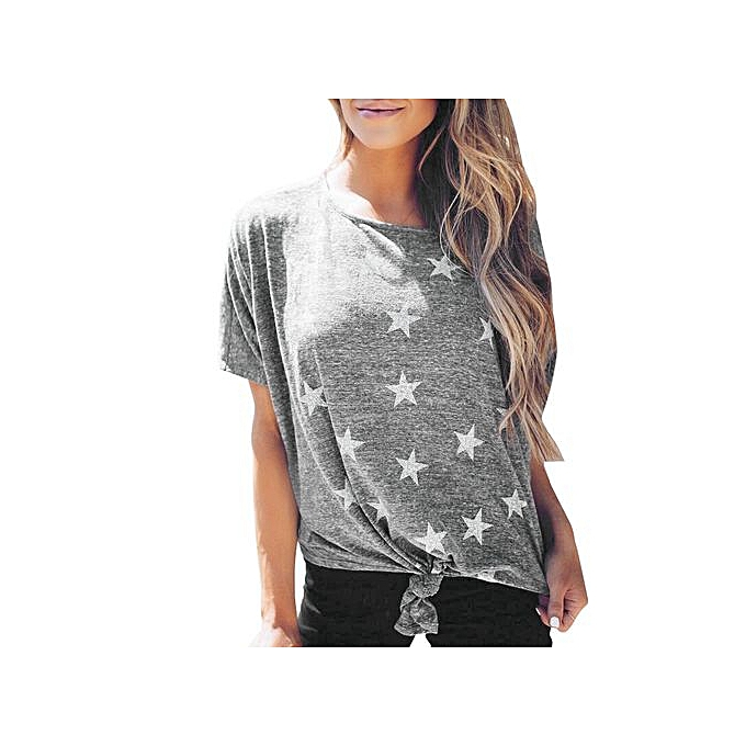 61a9951dd84 Hiaojbk Store Women Short Sleeve Round Neck Star Printed T Shirts Casual Blouse  Tops Shirt-
