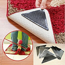 4pcs/set Rug Grippers Carpet Rubber Anti-skid Pad With Rug Double Sided Tape - Black