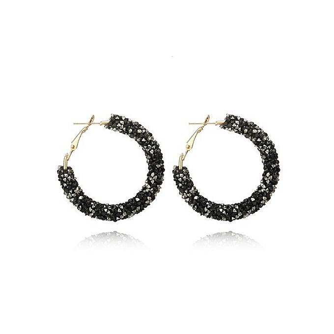 Olivaren Personality Shiny Crystal Hoop Earring Fashion All Match Geometric Round Ear Black