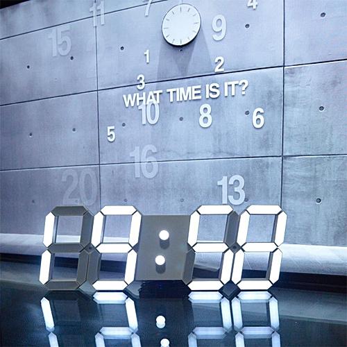 Large Modern Design Digital Led Skeleton Wall Clock Timer 24/12 Hour  Display 3D White