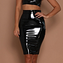 Xiuxingzi_Women Leather Sexy Bodycon Skirt Sexy Elastic Short Skirt