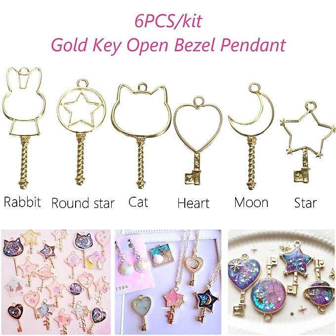 f1fb99f94ace1 6pcs Gold Key Open Bezel Pendant Magic Wand Open Bezel Charm Magical Girl