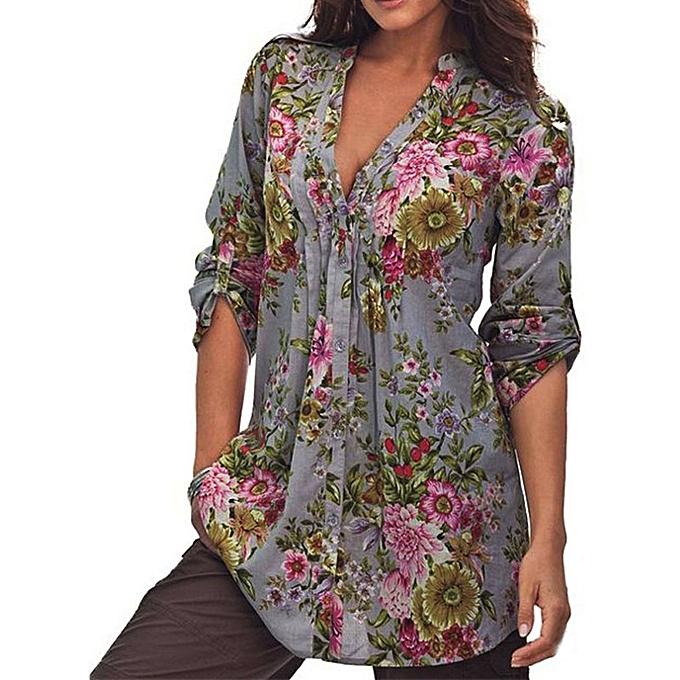 4214ffa2b98 Xingbiaocao Women Vintage Floral Print V-neck Tunic Tops Women's Fashion  Plus Size Tops -