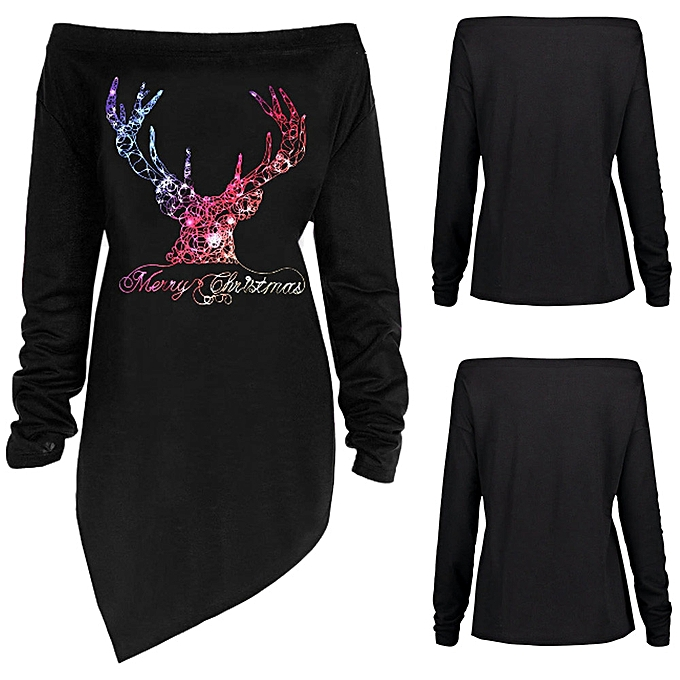 Merry Christmas Letter T.Fashion Women Merry Christmas Letter Deer Print Off Shoulder T Shirt Top Blouse