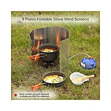 Ultra-light Outdoor Camping Stoves 8 Plates Foldable Cooker Gas Stove Wind Shield Screens Aluminum Windshield