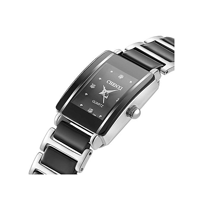 ... Fashion Waterproof Women's Watch Quartz Wrist Watches With Ceramic Watchband Diamonds Decoration-Black - Black ...